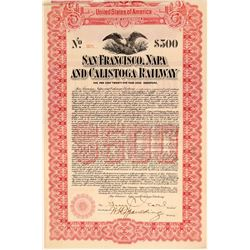 San Francisco, Napa, & Calistoga Railway $500 Bond  106864