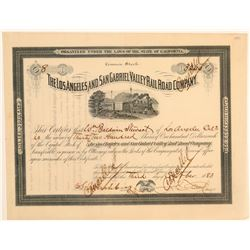 Los Angeles & San Gabriel Valley Railroad Co. Stock Certificate  106899