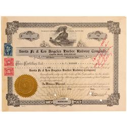 Santa Fe & Los Angeles Harbor Railway Co. Stock Certificate  106898