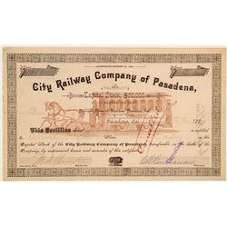 City Railway Company of Pasadena Stock Certificate  106865