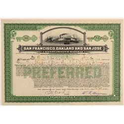 San Francisco, Oakland & San Jose Cons. Railway Stock Certificate  106858