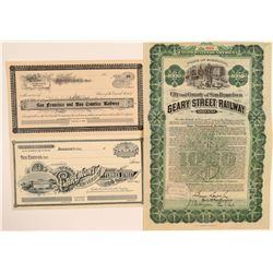 Three Different San Francisco/ Bay Area Railroad Stocks (3)  106866