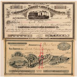 Two Nice Pictorial Bay Area Street Car Stock Certificates  106857