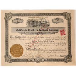 California Southern Railroad Company Stock Certificate  107616