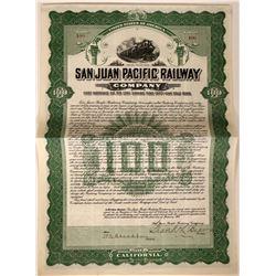San Juan Pacific Railway Company Bond  107615