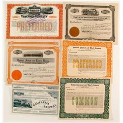 8 stock certicates - Oakland Railroad  83851