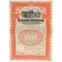 Colorado & Northwestern Railroad Company Specimen Bond  106882