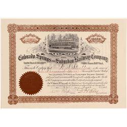 Colorado Springs & Suburban Railway Co. Stock to WS Stratton  106888