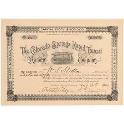 Colorado Springs Rapid Transit Railway Co. Stock to WS Stratton  106889