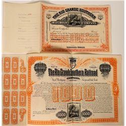 Rio Grande Southern Railroad Company Bond & Stock  107459