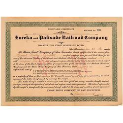 Eureka & Palisade Railroad Company Bond  106778