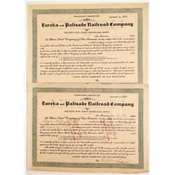 Eureka & Palisade Railroad Co -1st Mortgage Bond receipt  83858