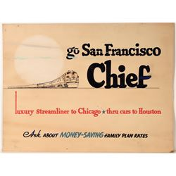 "Railroad Advertising Sign / For "" San Francisco Chief  109632"