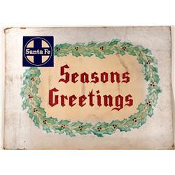 "Railroad Advertising  Sign /  "" Seasons Greetings""  109638"
