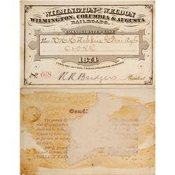 Rail Pass for Wilmington & Weldon / Wilmington, Columbia, & Augusta Railroad, 1874  59937