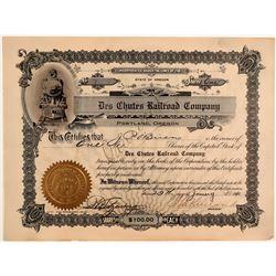 Des Chutes Railroad Company Stock Certificate  106760