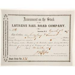 Laurens Rail Road Co - Assessment Certificate  83803