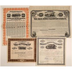 Four Different Southern Railroad Stocks & Bonds  107410