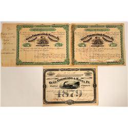 Gulf Colorado & Santa Fe Railway Company Stock Certificate Trio  107444