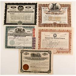 Utah Railroad stock certificates  83849
