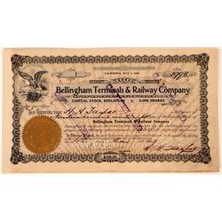 Bellingham Terminals & Railway Co. Stock Certificate--Number One  107449