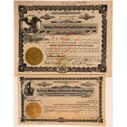 Two Different Spokane Railroad Stock Certificates  106761