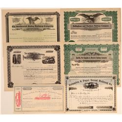 Six Different Unissued Washington Railroad Stock Certificates  106755