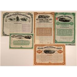 Atlantic & Pacific Railroad Company Bonds & Stock (5)  106874