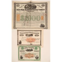 Three Different Railroad Stocks/Bonds with Imprinted Revenues  106821