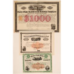 Three Different Railroad Stocks/Bonds with Imprinted Revenues  106822