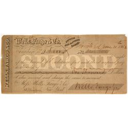 Wells Fargo & Co. Second of Exchange, Oroville, CA  77530