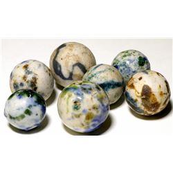 Marbles /  Crockery & Fancy Colored Benningtons / 7 Items  100606
