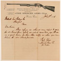 Spencer Arms Company Pictorial Letterhead with Testimonial Page  104518