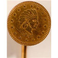 Cal Fractional Gold Stick Pin  108618
