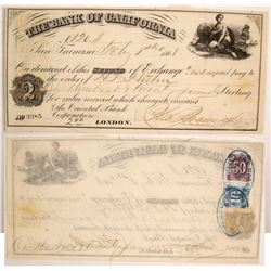 Bank of California Second of Exchange w/ California Revenue Stamps  77538