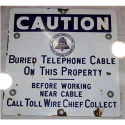 Bell Telephone Co. of Nevada, American Telephone & Telegraph Co. Metal Caution Sign  108305