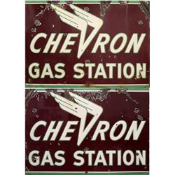 Winged Chevron Gas Station Double-Sided, Large, Enamel, Vintage Sign - Rare!  108352