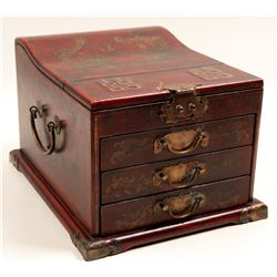 Chinese Oil, Business and Rubber Stamps Decorated Wooden Boxes.  105996