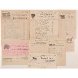 "Horse & Wagon Billheads / "" Pictorial "" / 8 Items.  109649"