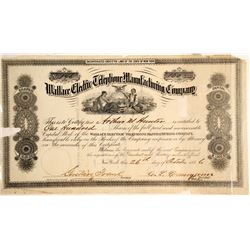 Wallace Electric Telephone Manufacturing Company Stock Certificate  60935