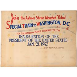 "Railroad Advertising Sign / "" Special Train To Washington, D.C.""  109634"