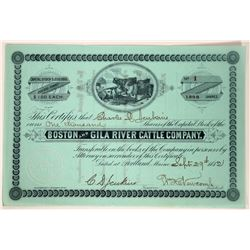 Boston & Gila River Cattle Co. Stock Certificate--Number 1  107598