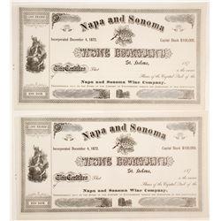 Napa and Sonoma Wine Company Stock Certificates (2 count)  61760