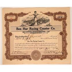 Ben Hur Racing Coaster Company Stock Certificate (Rollercoaster)  107456