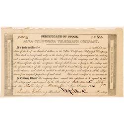 Alta California Telegraph Company Stock Certificate  107026