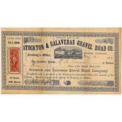 Stockton & Calaveras Gravel Road Co. Stock Certificate  103448