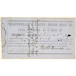 Weaverville & Shasta Wagon Road Co. Stock Certificate  103447