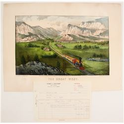 Currier & Ives Hand-colored Lithograph: The Great West  74588