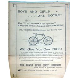 Daily Inter Mountain Full Page Bicycle Ad  86431