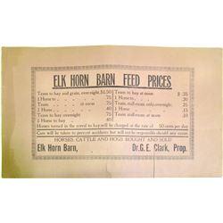 Elk Horn Barn Feed Original Broadside  85154